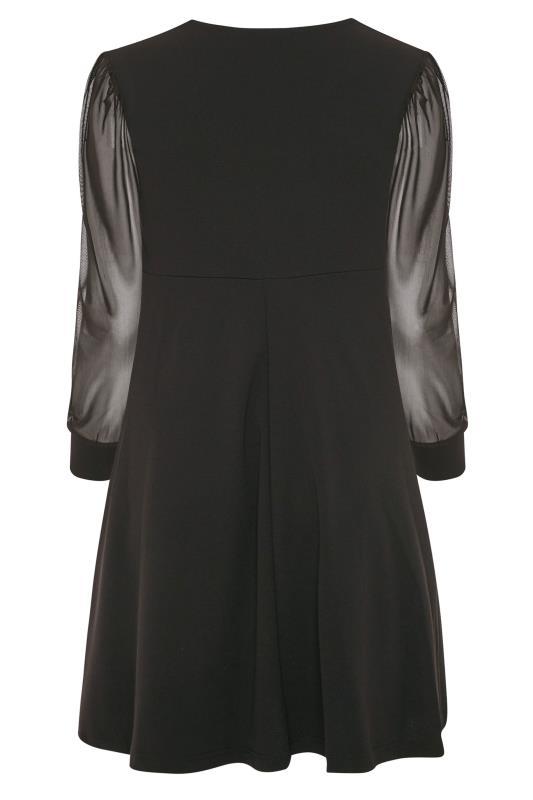 LIMITED COLLECTION Black Milkmaid Mesh Sleeve Skater Dress_BK.jpg