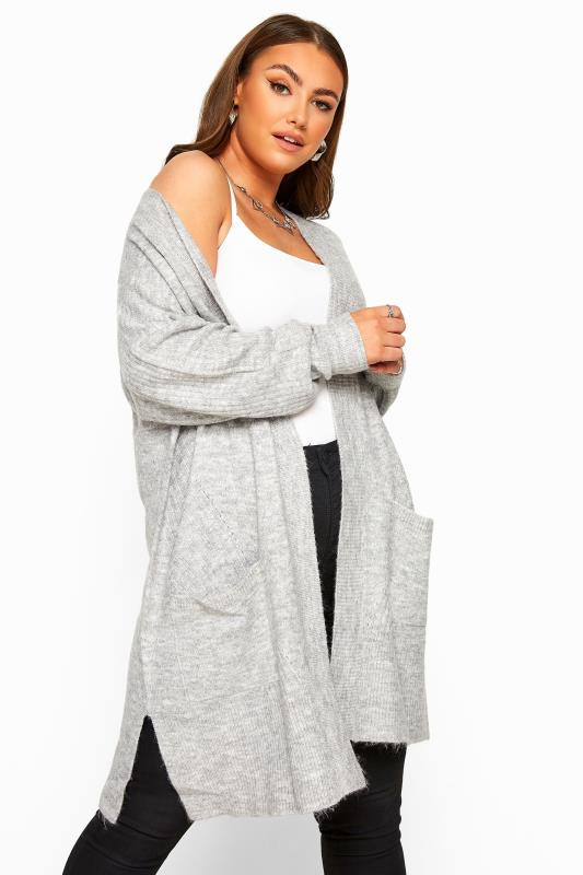 Plus Size Cardigans Grey Marl Longline Knitted Cardigan