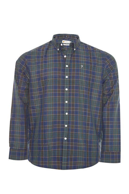 Plus Size  FARAH Olive Oxford Check Shirt