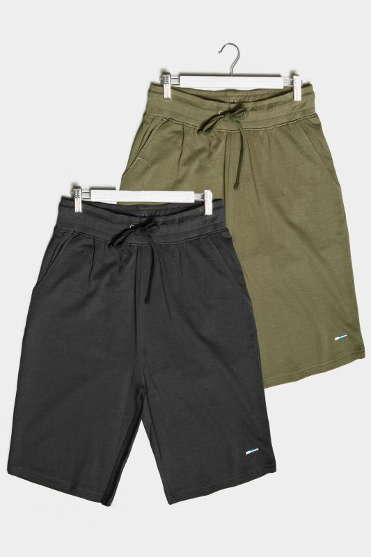 BadRhino Multi 2 Pack Plain Jersey Shorts