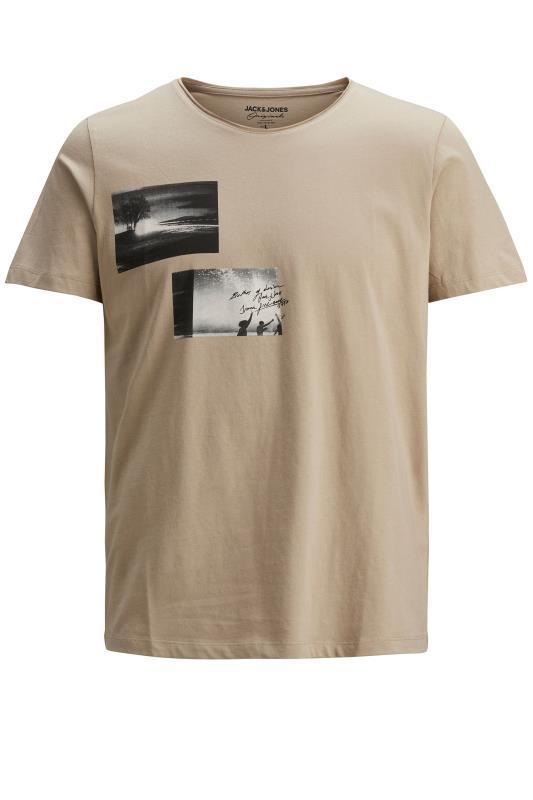 Men's  JACK & JONES Beige Nobody Graphic Print T-Shirt