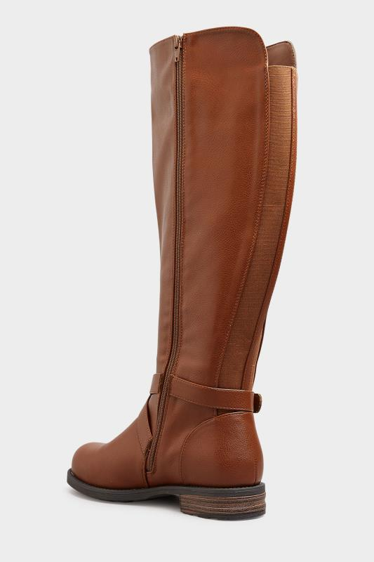 Brown Faux Leather Buckle Knee High Boots In Extra Wide Fit_C.jpg