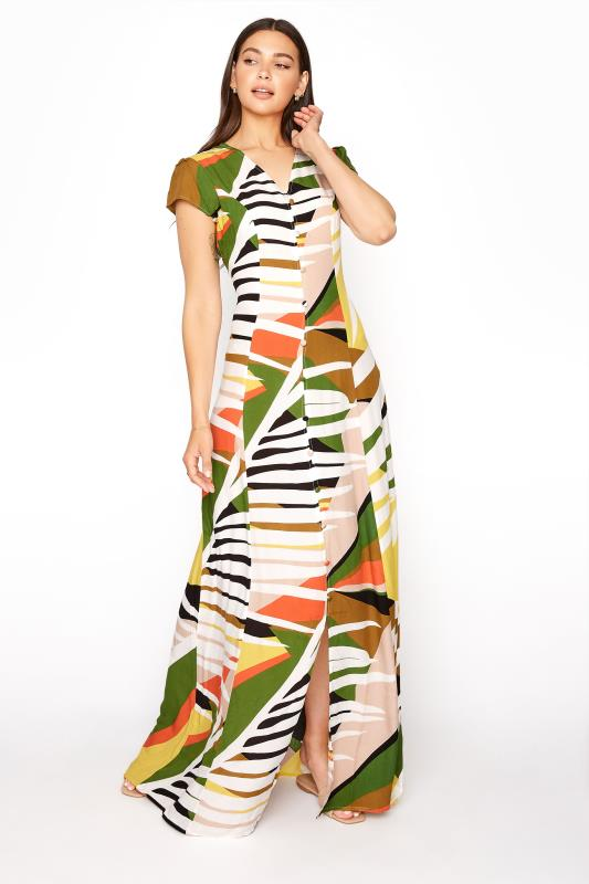Tall  Multi Abstract Button Down Maxi Dress