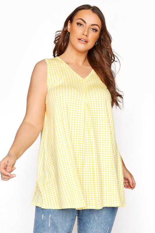 Plus Size  Lemon Yellow Gingham Swing Vest Top