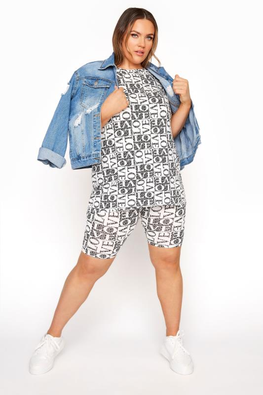 Plus Size  LIMITED COLLECTION Black 'Love' Printed Cycling Shorts