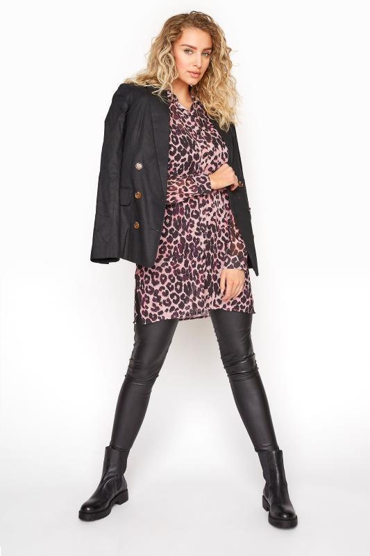 LTS Pink Leopard Print Longline Chiffon Shirt