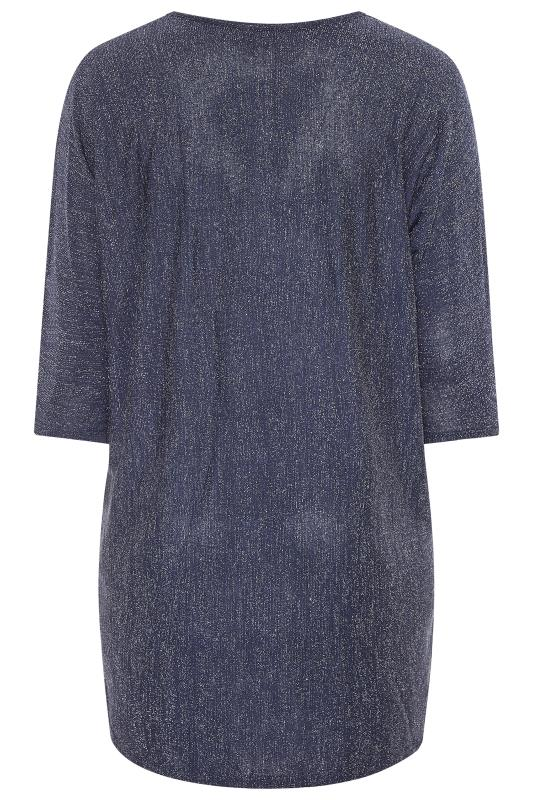 YOURS LONDON Midnight Blue Metallic Extreme Dipped Hem Top