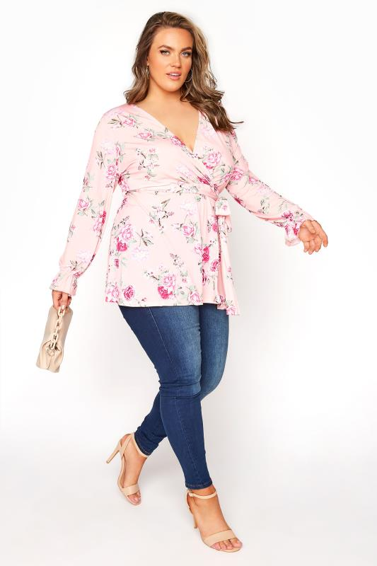YOURS LONDON Pink Floral Wrap Top