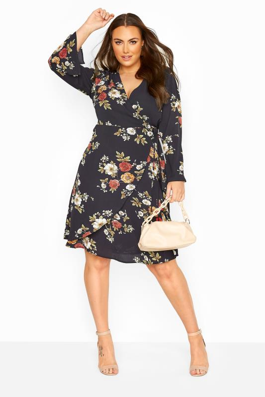 YOURS LONDON Navy Winter Floral Wrap Dress