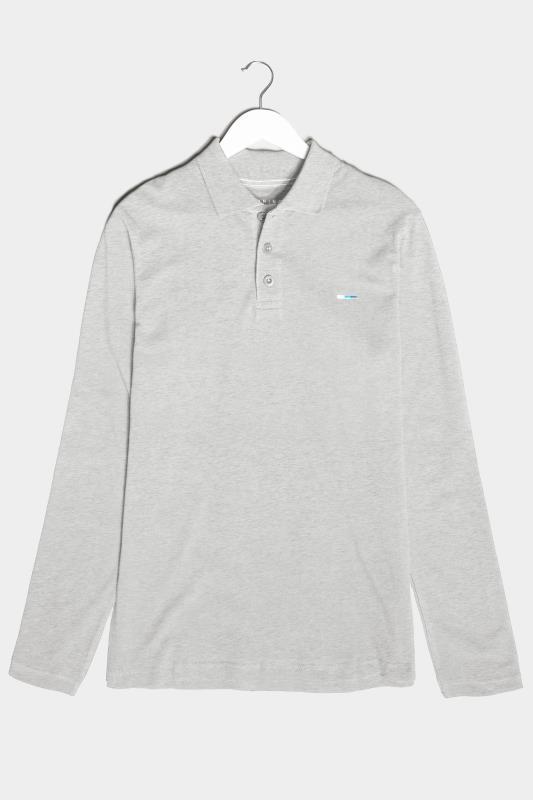 Men's  BadRhino Grey Marl Essential Long Sleeve Polo Shirt