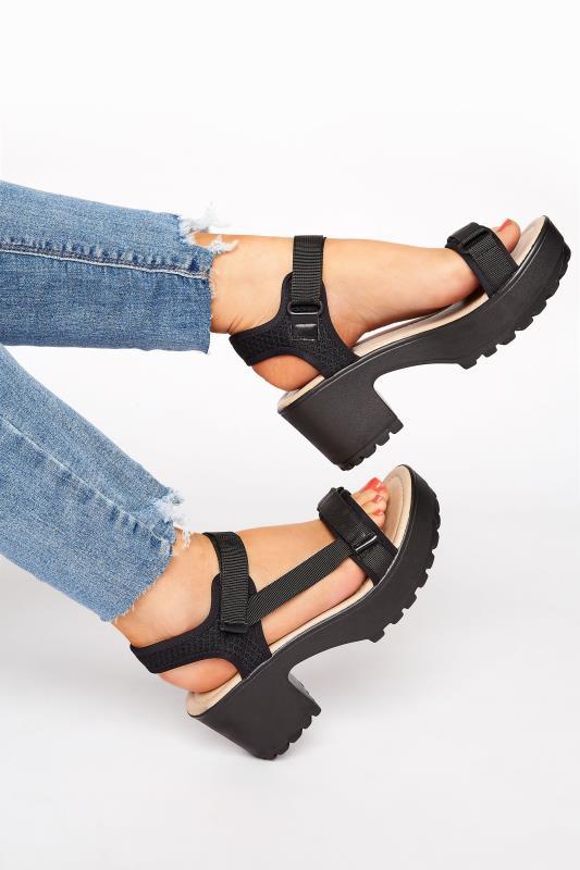 Tall  Yours Black Sport Strap Platform Heeled Sandal in Regular Fit