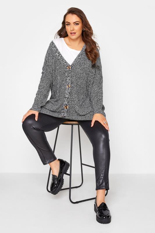 Grey Mono Button Knitted Cardigan_B.jpg