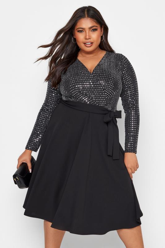 Plus Size  YOURS LONDON Black Glitter Sequin Skater Dress