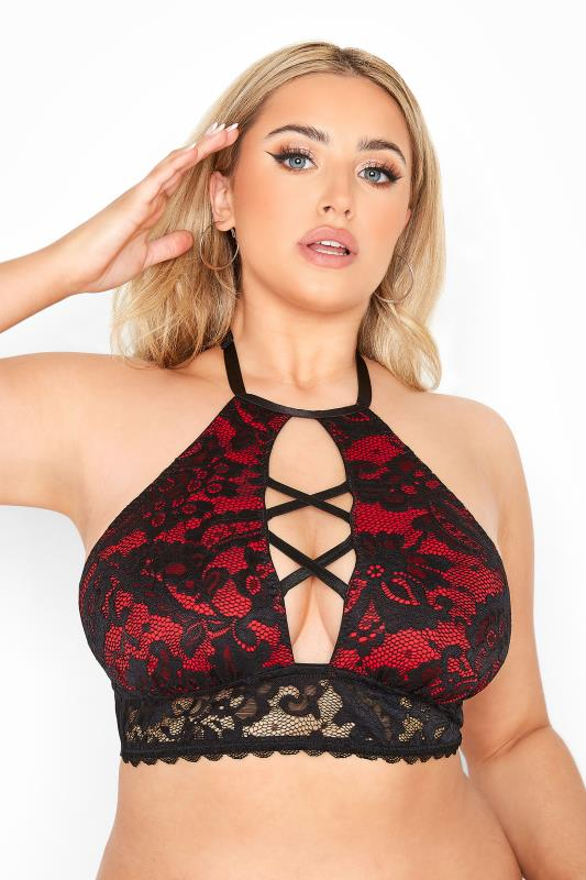 Plus Size  Red Lace Halter Neck Boudoir Bra