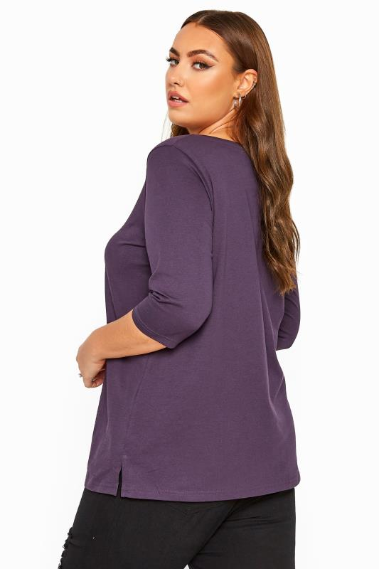 Purple V-Neck Cotton Top