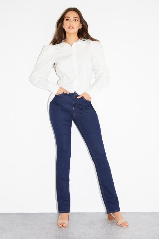 Tall  Deep Indigo Blue Ultra Stretch Bootcut Jeans