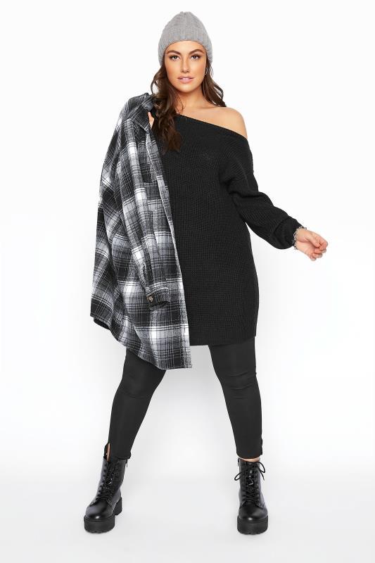 Black Bardot Knitted Jumper Dress