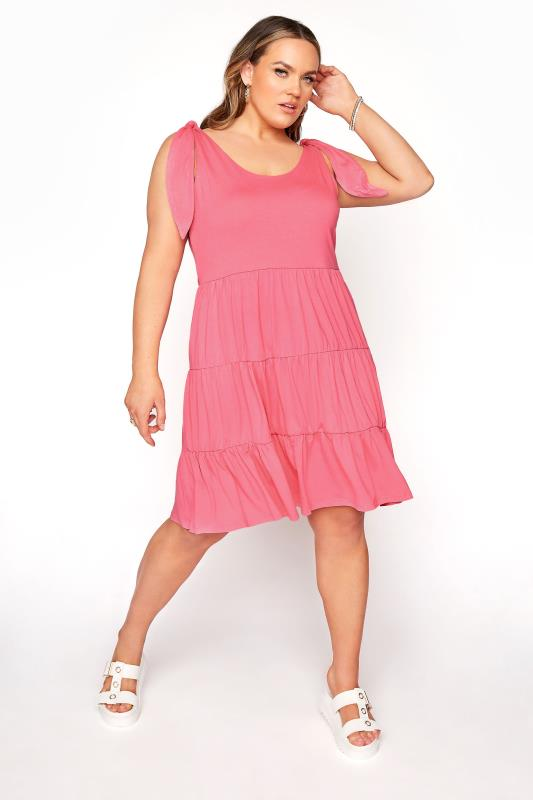 LIMITED COLLECTION Pink Tiered Jersey Dress_A.jpg