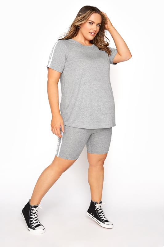 BUMP IT UP MATERNITY Grey Stripe T-shirt & Shorts Set_B.jpg