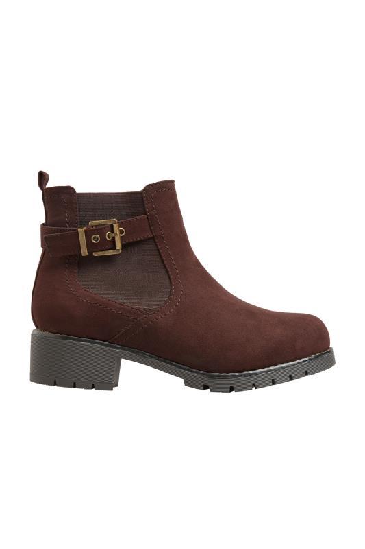 Chelsea boots met gesp van bruin imitatiesuède