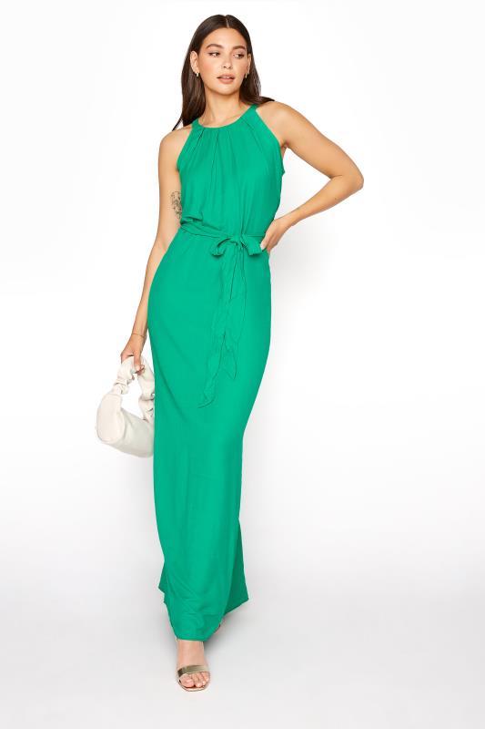 LTS Green Halter Neck Maxi Dress