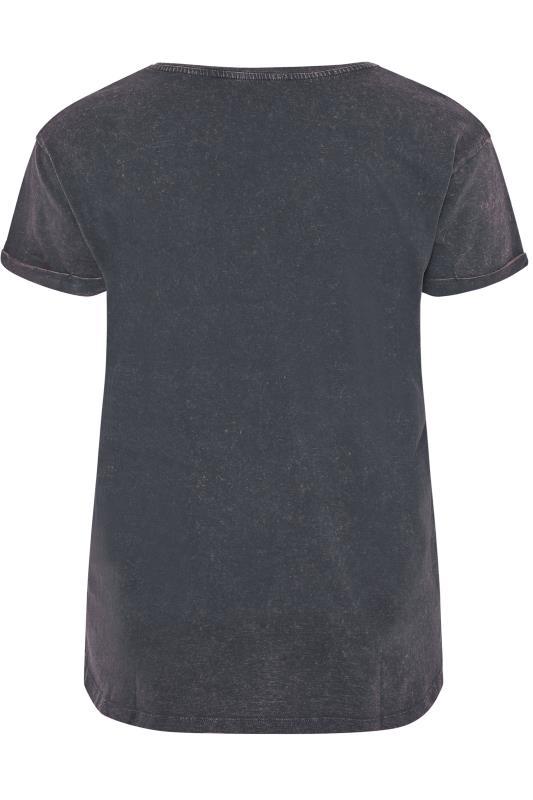 Grey Acid Wash Love Stud Slogan T-Shirt