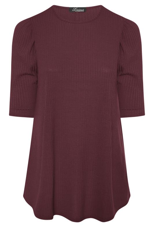 LIMITED COLLECTION Berry Purple Puff Sleeve Ribbed Top_F.jpg