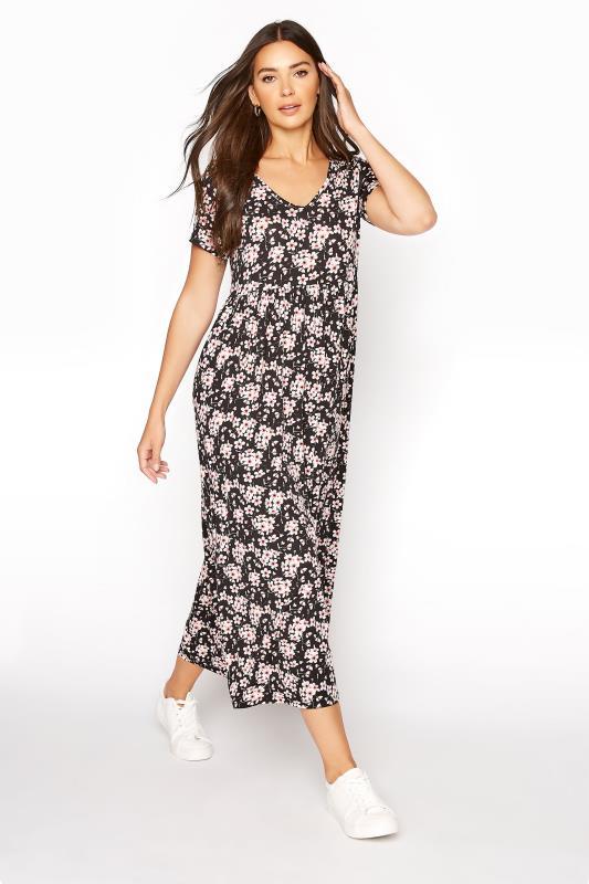 Tall  LTS Black Floral Print Jersey Midi Dress