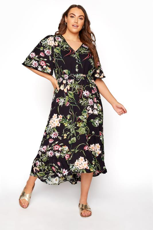 Plus Size  Black Floral Midi Dress