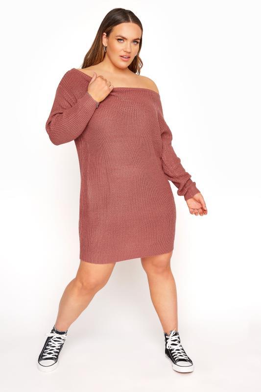 Großen Größen  Pink Bardot Knitted Jumper Dress