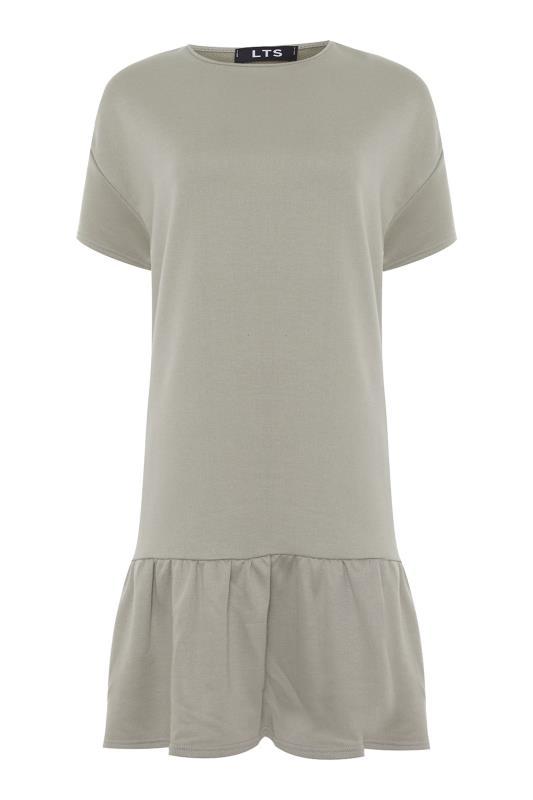LTS Khaki Jersey Sweat Frill Hem Dress_F.jpg
