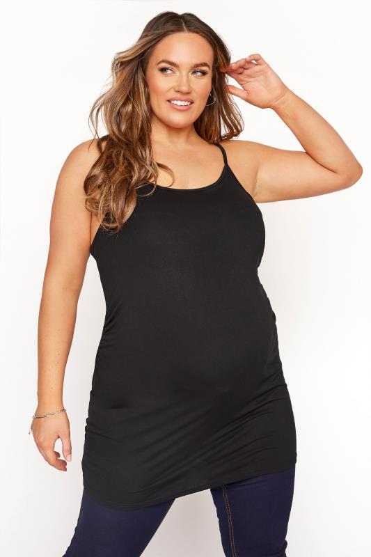 Plus Size  BUMP IT UP MATERNITY Black Cami with Secret Support