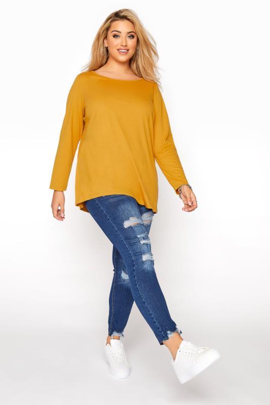 Mustard Yellow Long Sleeve Scoop Neck T-Shirt_B.jpg