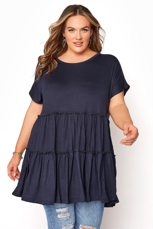Navy Tiered Smock Tunic