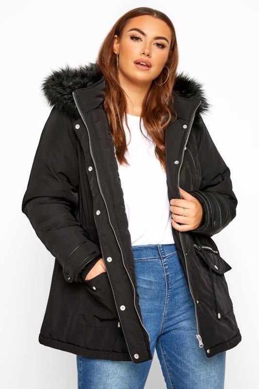 Plus Size Parka Coats Black Faux Fur Trim Short Parka Coat