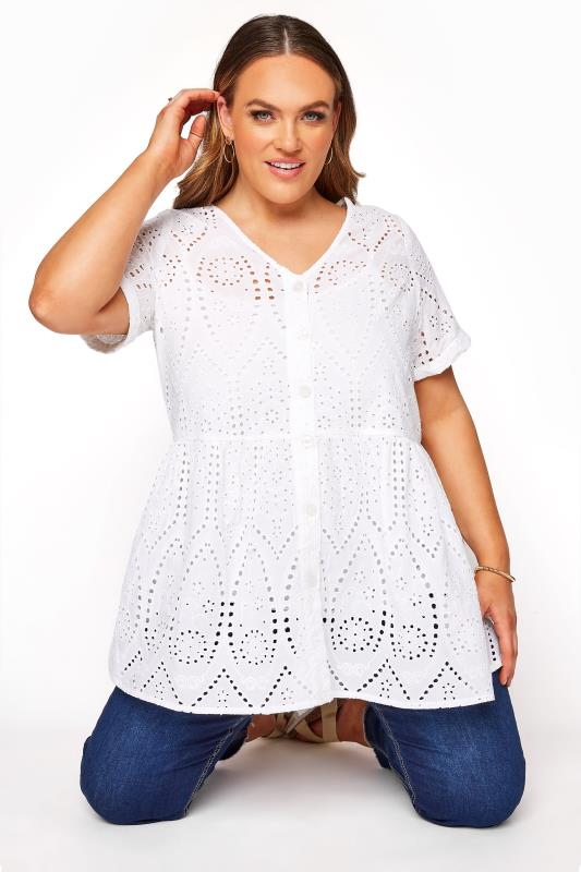 Plus Size  White Broderie Anglaise Lace Peplum Top