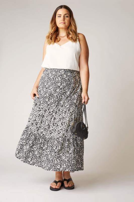 Plus Size  THE LIMITED EDIT Black Floral Tiered Smock Maxi Skirt