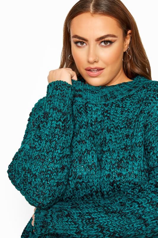 Plus Size Jumpers Teal Blue Marl Chunky Knitted Jumper