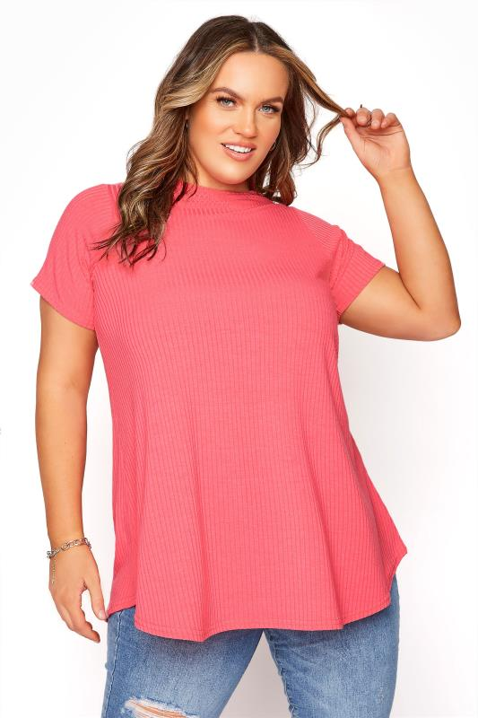 Plus Size  LIMITED COLLECTION Pink Ribbed Short Sleeve T-shirt