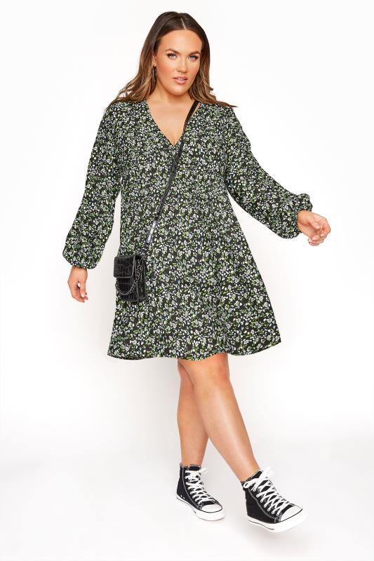 LIMITED COLLECTION Black & Green Ditsy Tea Dress_B.jpg