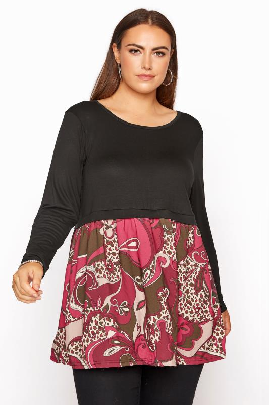 Plus Size  LIMITED COLLECTION Black Paisley Smock Top