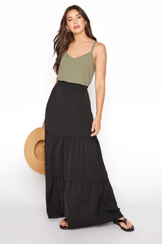 Tall  LTS Black Tiered Maxi Skirt