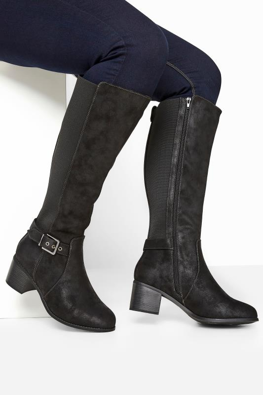 Wide Fit Knee High Boots Black Faux Suede Buckle Knee High Heeled Boots In Extra Wide Fit