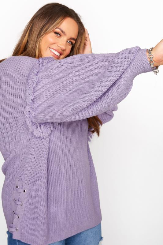 Lilac Purple Tassel Sleeve Chunky Knitted Jumper_E.jpg