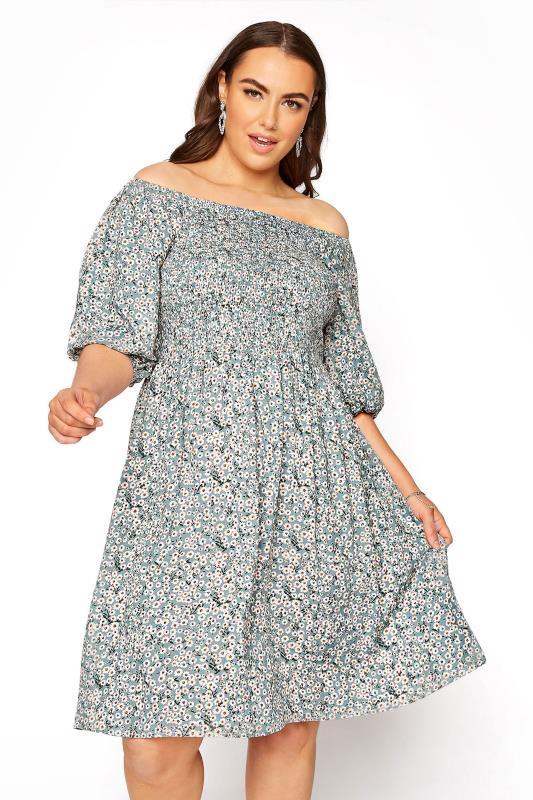 Plus Size  Sage Green Floral Balloon Sleeve Dress
