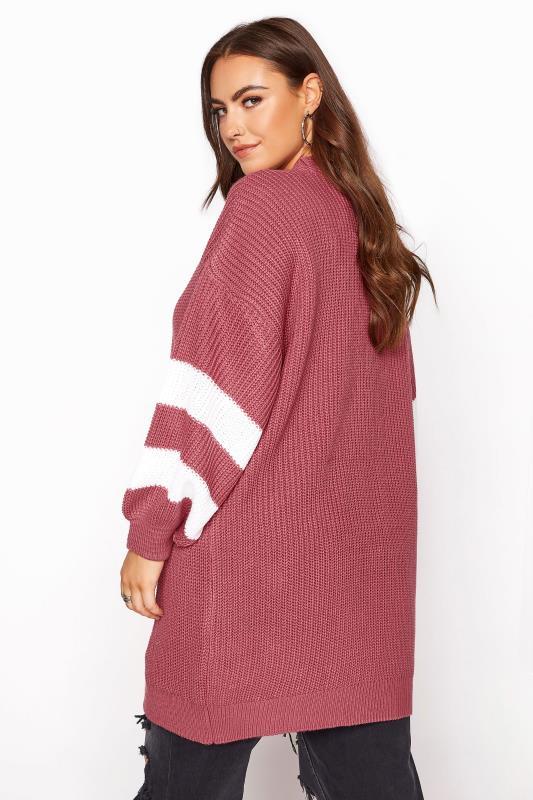 Pink Varsity Stripes Knitted Cardigan_C.jpg