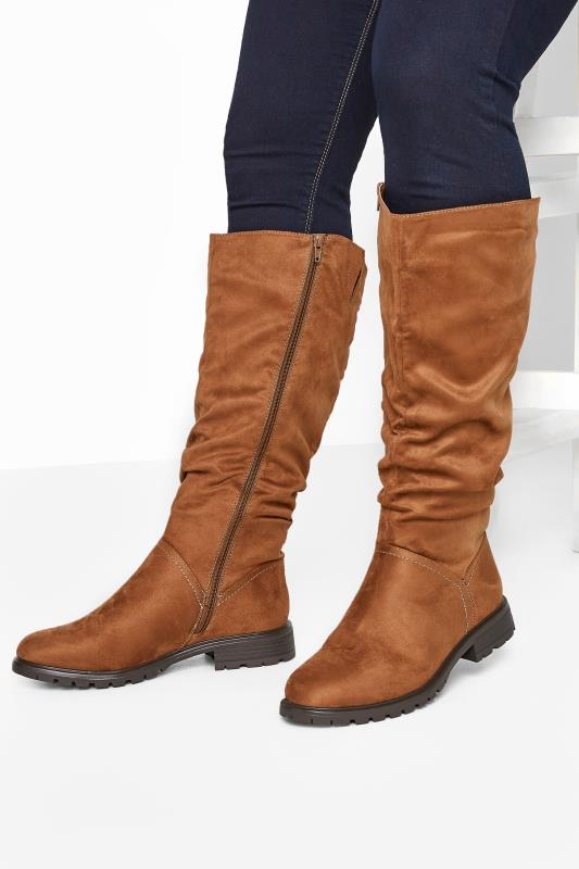 Wide Fit Boots Tan Faux Suede Ruched Knee High Boots In Extra Wide Fit