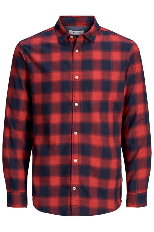 Men's Casual Shirts JACK & JONES Red Long Sleeve Check Shirt