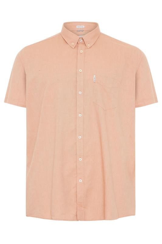 Plus Size  BEN SHERMAN Orange Short Sleeve Oxford Shirt
