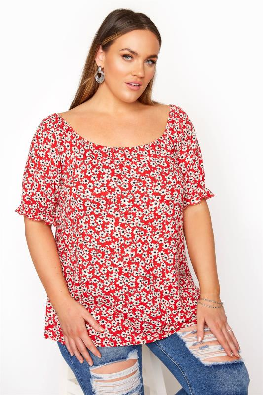 Plus Size  Red Floral Scoop Neck Top